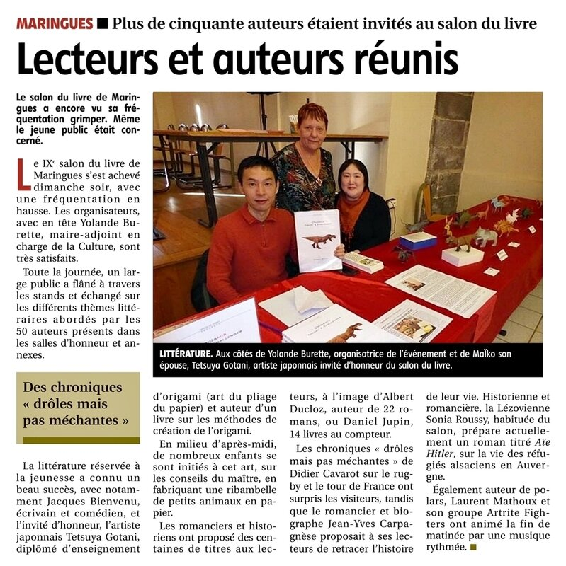 S-article La Montagne 11122019 Salon du Livre Maringues