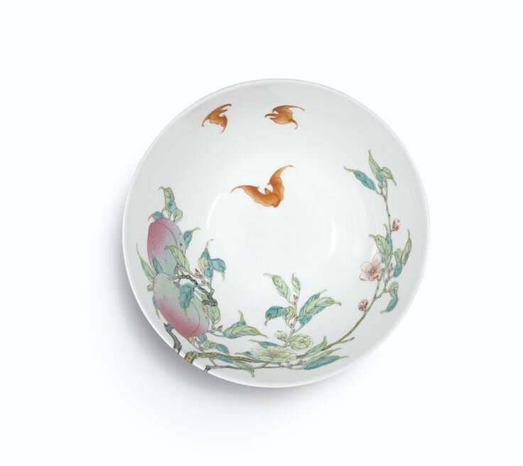 An extremely rare and superbly enamelled pair of Famille-Rose 'Peach' bowls, Marks and period of Yongzheng (3)