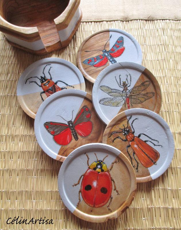"""Sous-verres """"Insectes & coléoptères"""" (bois peint)"""