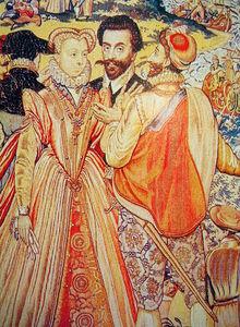 Marguerite, Charles III et Henri III de Navarre, extrait de la tapisserie des Valois