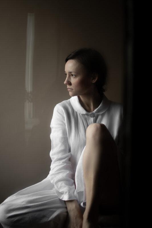 Robe Armony-Grace, 100% lin, coloris blanc