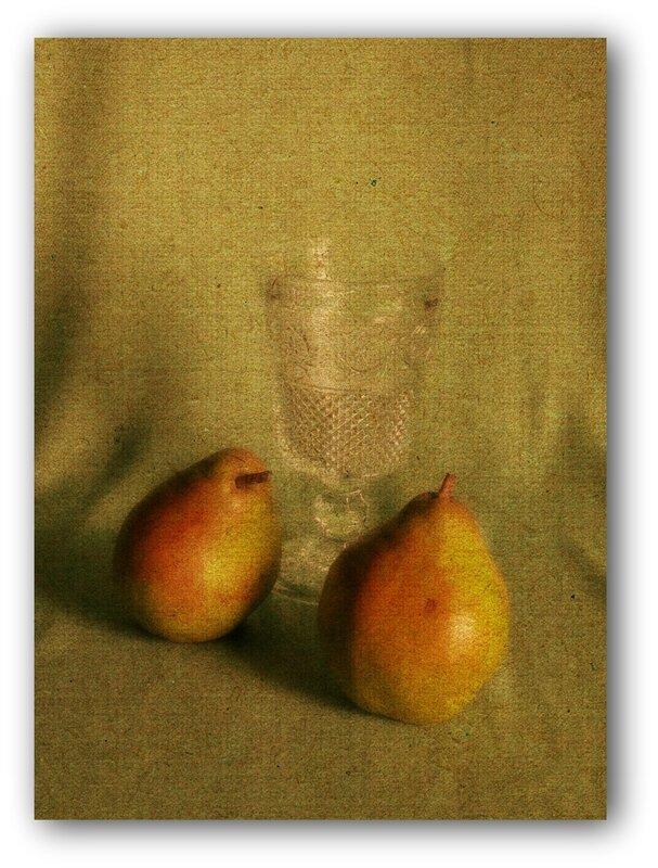 peinture nature morte poires fruits verre albertosi peintre