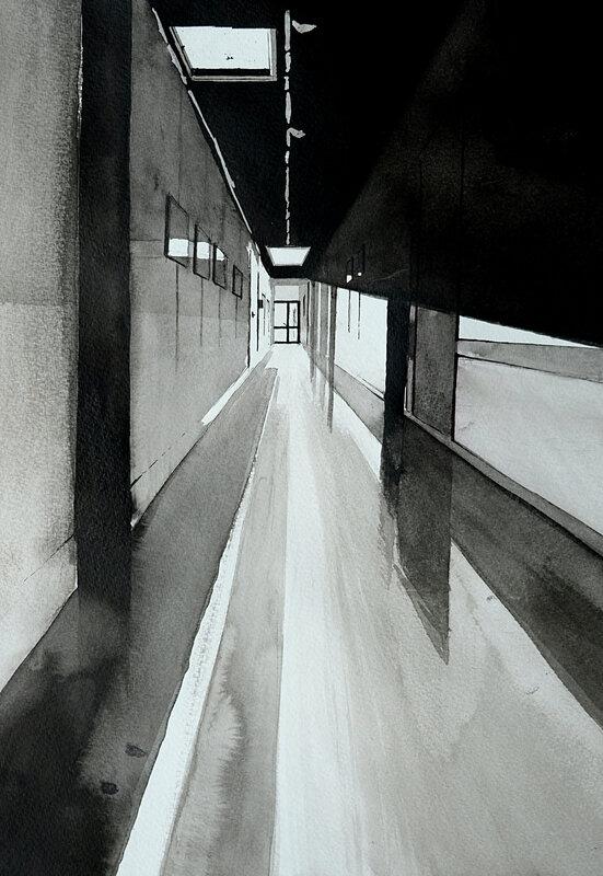 COULOIR DE COLLEGE , encre de chine, 30 x 40 cm, décembre 2019