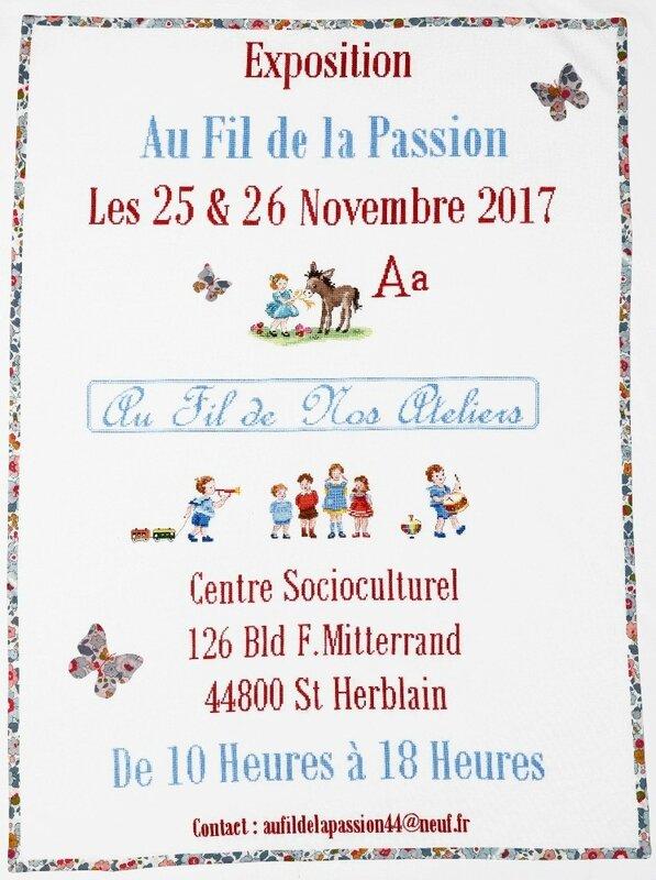 AFFICHE EXPO 2017 AU FIL DE LA PASSION ST HERBLAIN 01 07 2017