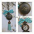 Petite horloge bronze verte thème couronne