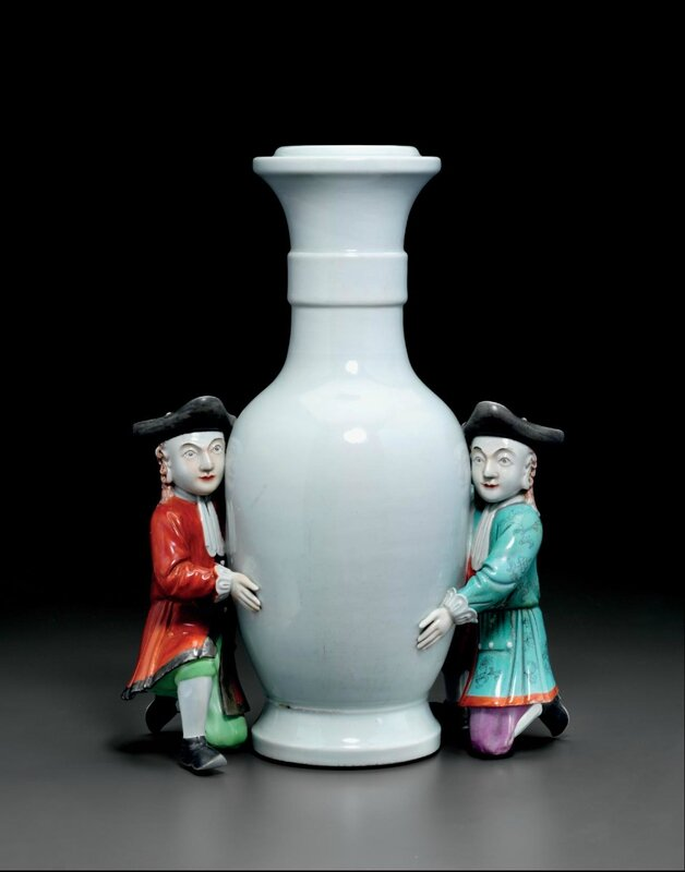 A rarefamille-roseand pale celadon-glazed vase-shaped support with European figures, Qianlong period (1736-1795)
