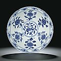 A fine blue and white 'Fruit and Flower' lobed bowl, Mark and period of Xuande