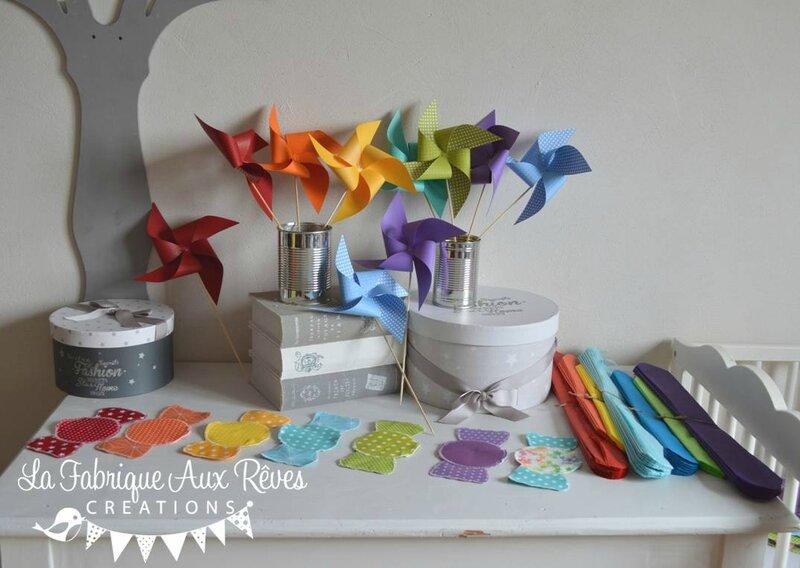 décoration mariage baptême arc en ciel pochons dragées pompons papier soie moulins à vent