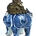 Blue and white qilin porcelain ritual incense burner with metal head, china, ming dynasty, 1368 - 1644