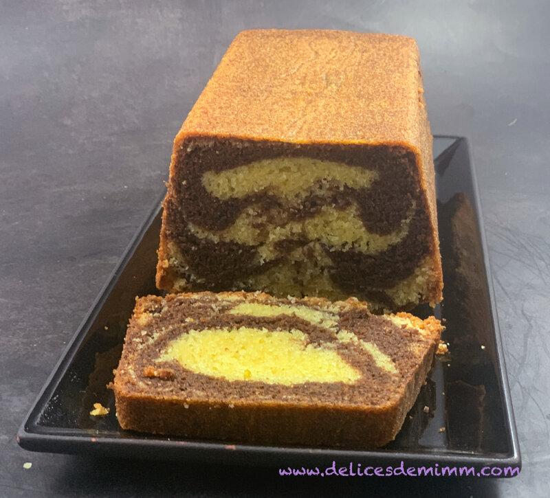 Cake moelleux marbré au chocolat 2