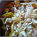 Salade d'endives (chicons) roquefort poires et noix