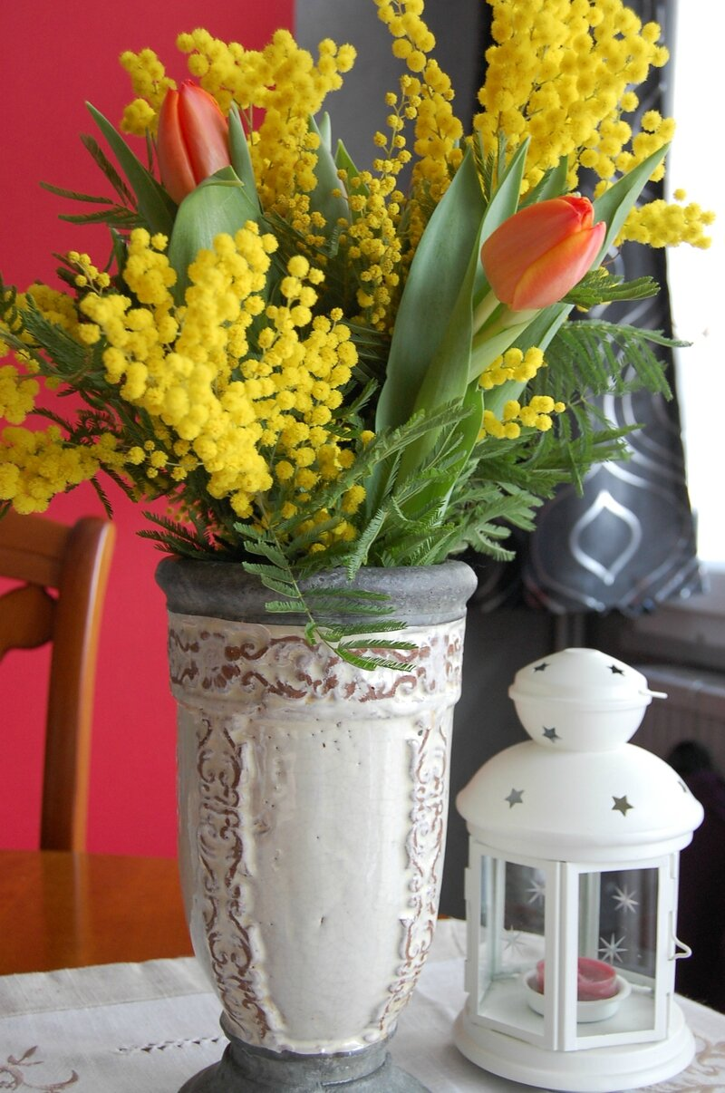 Bouquet de tulipes et mimosa