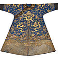 An exceptionally well-preserved blue-ground gold-couched 'dragon' robe, qing dynasty, late 19th century