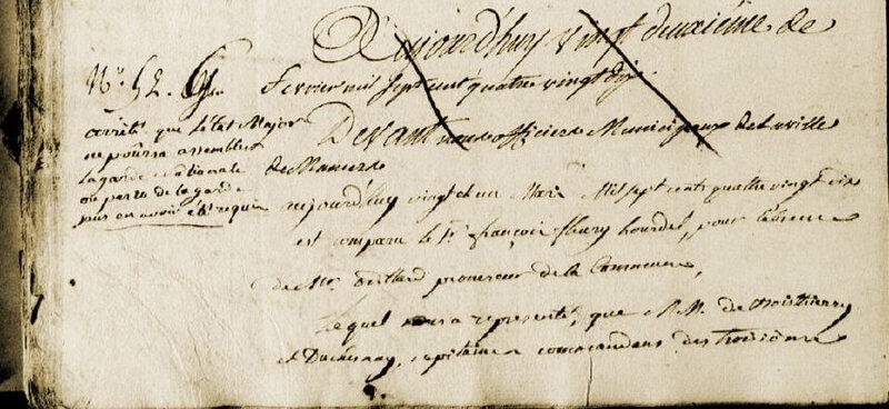 Le 21 mars 1790 à Mamers : toute assemblée armée doit être convoquée par la municipalité.