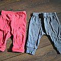 Lot de 2 leggings, taille 3 mois