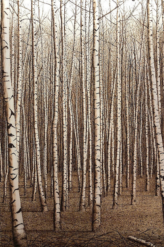 03-Autumn-Birches-Paul-Chojnowski-Burned-and-Scorched-Paper-and-Wood-Fire-Drawings-www-designstack-co