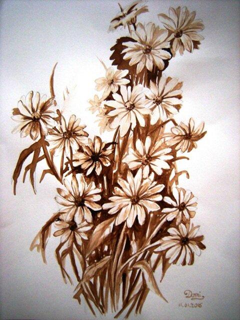 Comment Peindre Un Bouquet De Fleurs Au Brou De Noix Domi Dessins