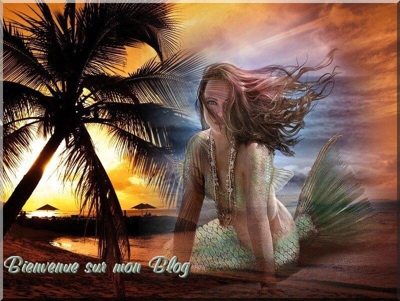 sirene verte et palmier bienvenue