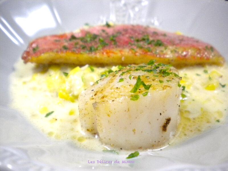 Filet de rouget et noix de Saint-Jacques sur crème de poireaux safranée 2