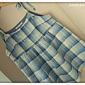 voile lin carreaux bleu argenté