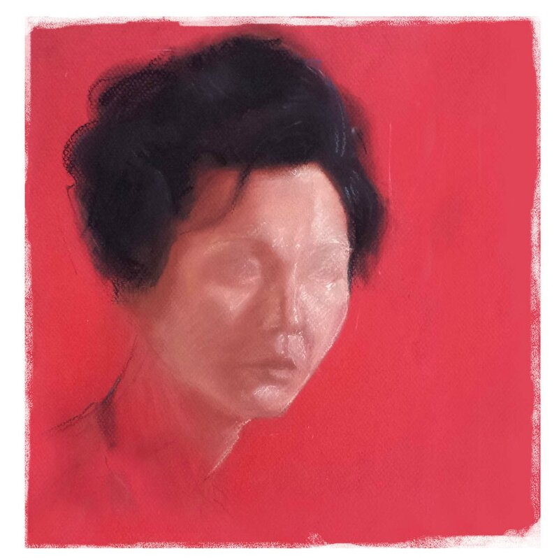 9 dessin femme chinoise portrait fond rouge in the mood for love