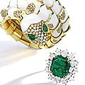 Very fine platinum, 18 karat gold, emerald and diamond ring, harry winston
