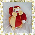 Doudou Peluche Clown Boule Rouge Orange Jaune Sucre D'Orge