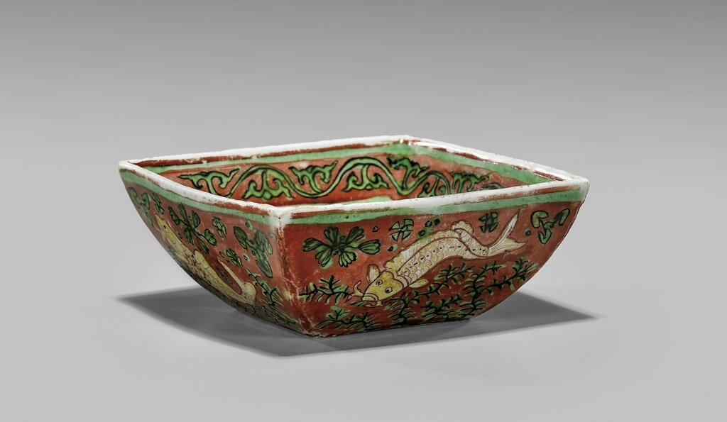 Wucai enameled-porcelain bowl of squared form, Ming Dynasty, Jiajing Period