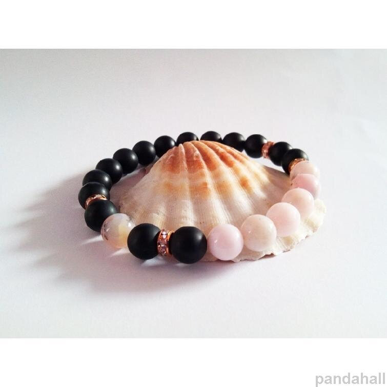 3-bracelet noir et rose