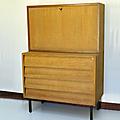 Petit mobilier secretaire bois pieds métal * maurice