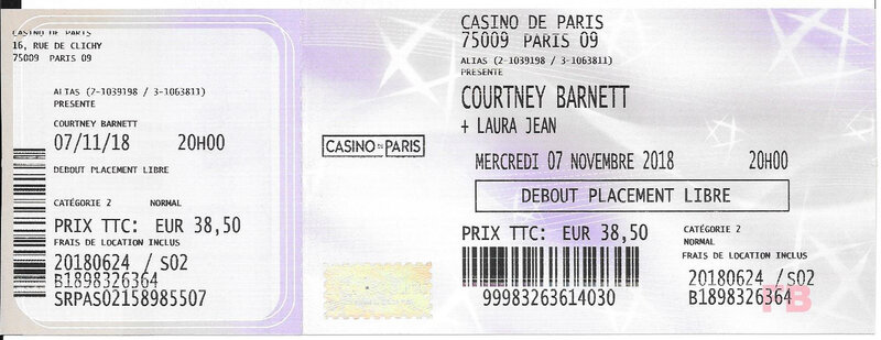 2018 11 07 Courtney Barnett Casino de Paris Billet