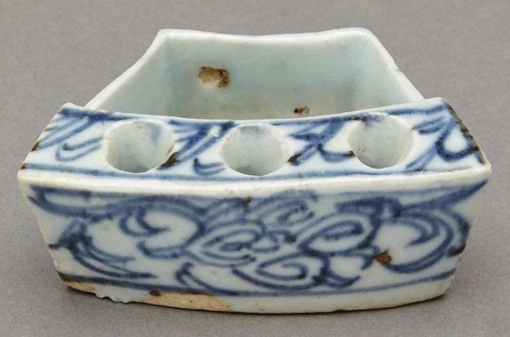 Chinese Blue and White Glazed Porcelain Incense Holder, Ming Dynasty