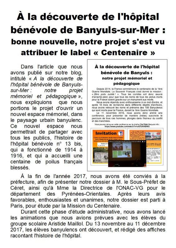 2) Obtention du label Centenaire - Page 1