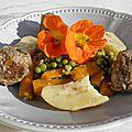 Plat complet : tajine de petits pois aux boulettes de kefta