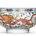 A wucai 'dragon and phoenix' bowl, kangxi mark and period (1662-1722)