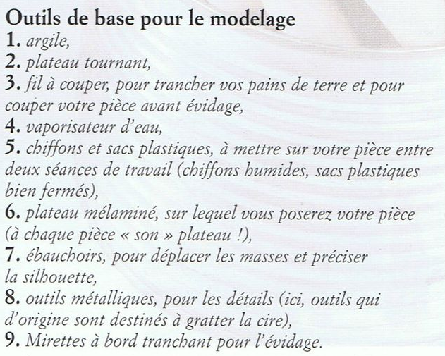 outils modelage