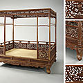 An imperial huanghuali six-post 'dragon' canopy bed, jiazichuang, qing dynasty, 18th century