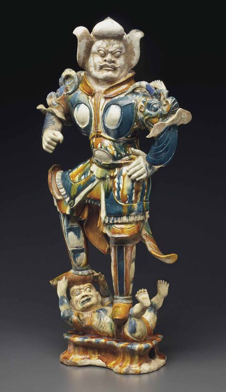 A large sancai and blue-glazed pottery figure of a lokapala, Tang dynasty (AD 618-907)