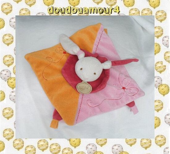 Doudou Peluche Lapin Plat Rose Orange Rouge Blanc Fleur BabyNat