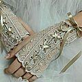 mitaines, gants de mariee, wedding bride broderie amd a coudre