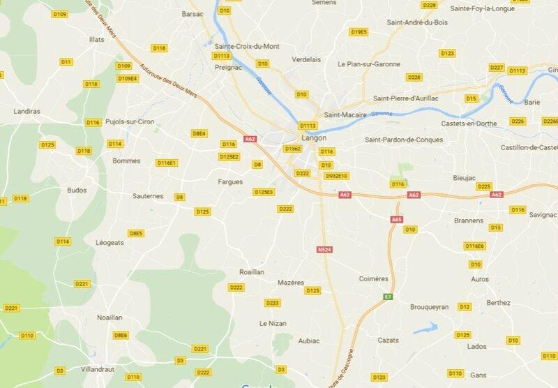 Langon-carte-routiere