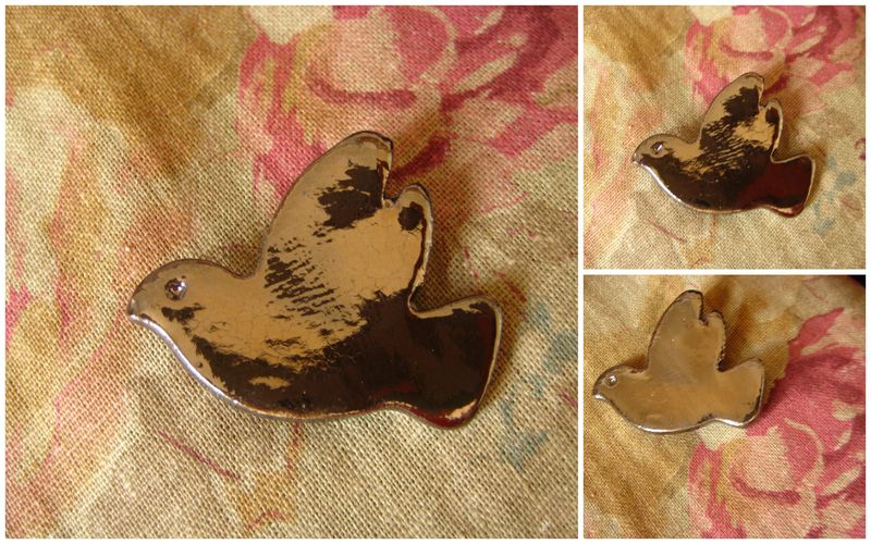 Broche colombe brun brillant : 15,00 euros