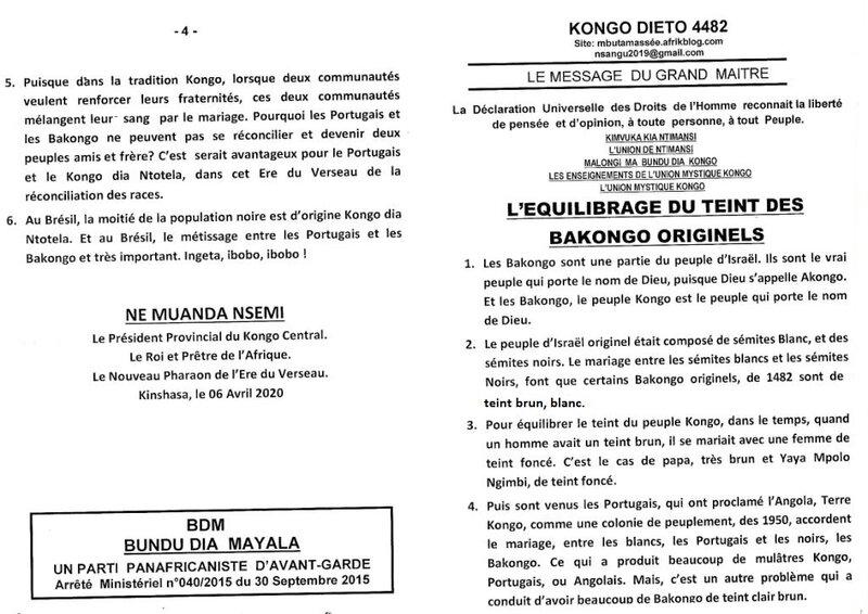 L'EQUILIBRAGE DU TEINT DES BAKONGO ORIGINELS a