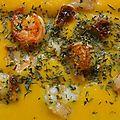 Velouté de giraumon et crevettes