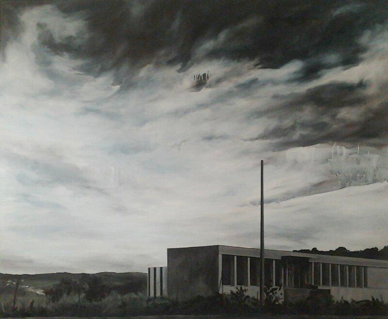 Linda Roux, En face de Leader Price, acrylique sur toile, 170 x 140 cm, 2011