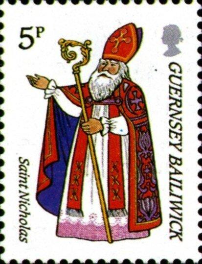 Timbre Guernesey 1985 Saint-Nicolas