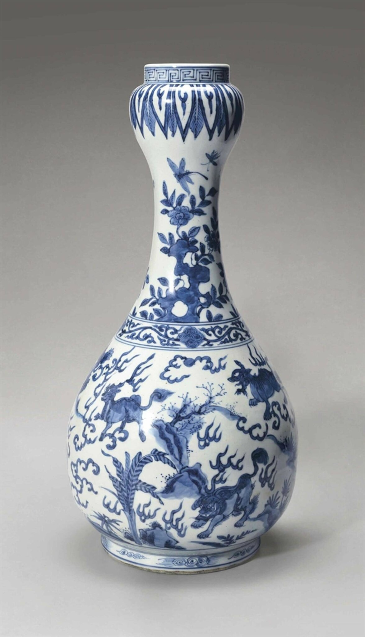 A blue and white 'garlic-head' vase, Wanli Period, (1573-1619)