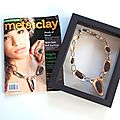 Ricochet necklace on the cover of metal clay artist magazine