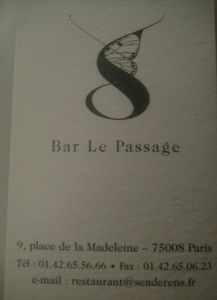 Bar Le Passage Carte de visite J&W