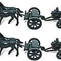 Attelage chevaux avec mitrailleuse gatling marque atlantic ref 1218 ech 1/32 made in italy